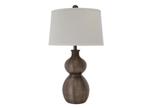 Gunmetal Finish Poly Table Lamp