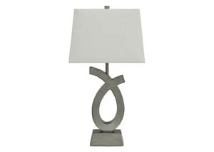 Amayeta Silver Finish Poly Table Lamp (Set of 2)