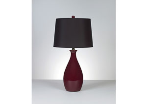 Jemma Deep Red Ceramic Table Lamp (Set of 2)