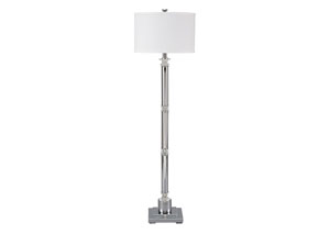 Marlon Clear/Silver Finish Metal Floor Lamp
