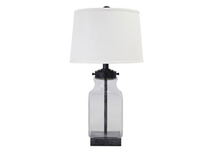 Transparent & Silver Finish Glass Table Lamp