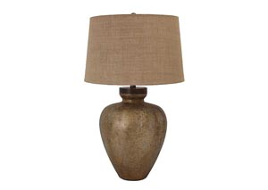 Shaunelle Antique Gold Finish Glass Table Lamp,Signature Design by Ashley