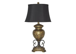 Archwood Black/Gold Finish Poly Table Lamp