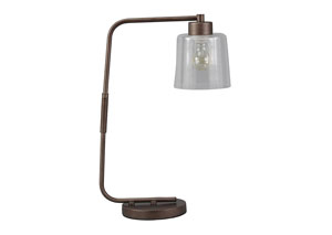Kyron Clear/Bronze Finish Metal Desk Lamp