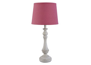 Kian White/Pink Poly Table Lamp