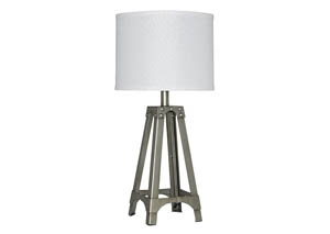 Arty Silver Finish Metal Table Lamp