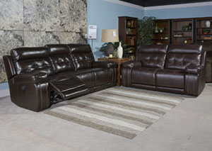 Graford Walnut Power Reclining Sofa w/Adjustable Headrest,Signature Design by Ashley