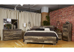 Derekson Multi Gray King Storage Bed