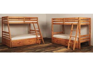 Hallytown Light Brown Twin/Twin Storage Bunkbed w/Ladder