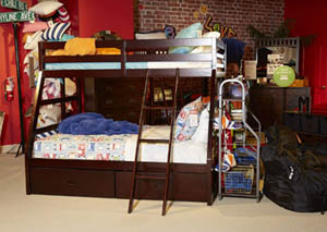 Halanton Dark Brown Twin/Twin Storage Bunkbed w/Ladder,Signature Design by Ashley