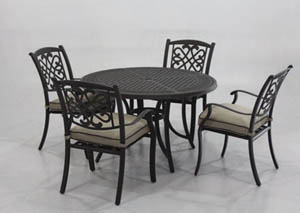 Burnella Beige/Brown Round Dining Table w/4 Sling Chairs