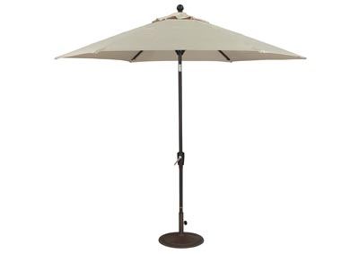 Beige/Dark Brown Medium Auto Tilt Umbrella