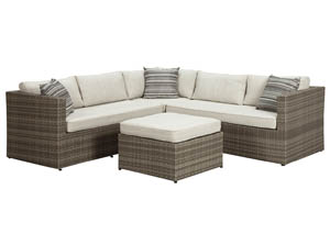 Peckham Park Beige/Brown Sectional,Outdoor By Ashley