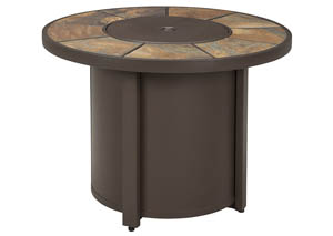 Predmore Beige/Brown Round Fire Pit Table,Outdoor By Ashley