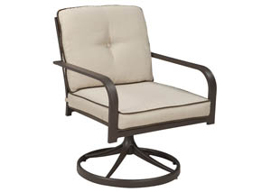 Predmore Beige/Brown Swivel Lounge Chair (Set of 2),Outdoor By Ashley