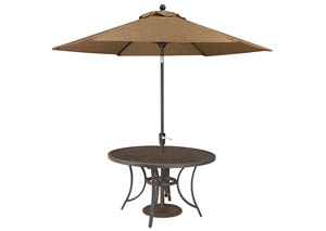 Carmadelia Tan/Brown Round Dining Table w/Medium Umbrella Option