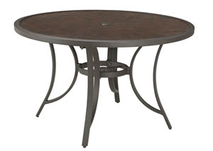 Carmadelia Tan/Brown Round Dining Table