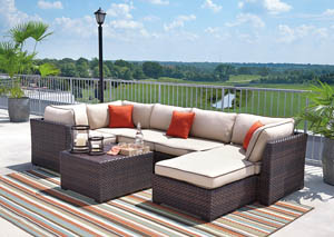 Renway Beige/Brown Sectional w/Cocktail Ottoman,Outdoor By Ashley