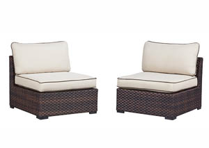Renway Beige/Brown Armless Chair w/Cushion (Set of 2),Outdoor By Ashley