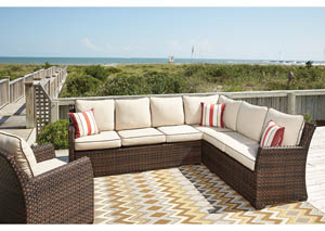 Salceda Wicker Sectional w/3 Striped Throw Pillows,Outdoor By Ashley