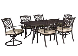 Burnella Beige/Brown Rectangular Dining Table w/2 Swivel Chairs and 4 Sling Chairs