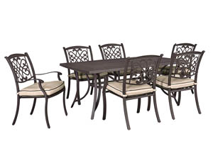 Burnella Beige/Brown Rectangular Dining Table w/6 Sling Chairs