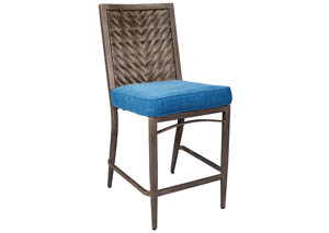 Partanna Blue/Beige Barstool w/Cushion (Set of 4)