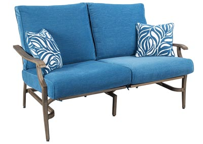 Partanna Blue/Beige Motion Loveseat,Outdoor By Ashley