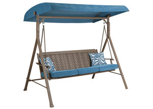 Partanna Blue/Beige Swing w/Cushion,Outdoor By Ashley