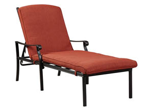 Tanglevale Burnt Orange Chaise Lounge w/Cushion,Outdoor By Ashley
