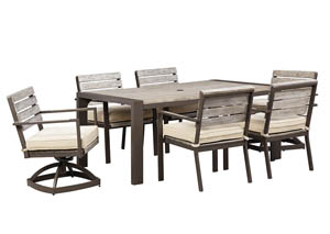 Peachstone Rectangular Dining Table w/4 Chairs & 2 Swivel Chairs