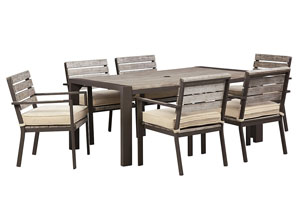 Peachstone Rectangular Dining Table w/6 Chairs