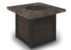 Alta Grande Beige/Brown Square Fire Pit Table
