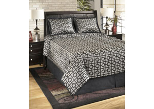 Maze Onyx Queen Top of Bed Set