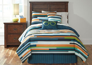 Seventy Stripe Twin Top of Bed Set