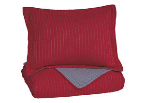 Dansby Red/Gray Twin Coverlet Set