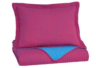 Dansby Magenta/Aqua Twin Coverlet Set,Signature Design by Ashley