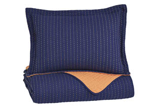 Dansby Navy/Orange Twin Coverlet Set,Signature Design by Ashley