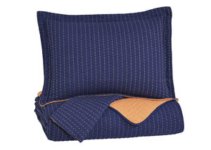 Dansby Navy/Orange Full Coverlet Set