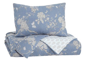 Damita Blue/Beige Queen Quilt Set