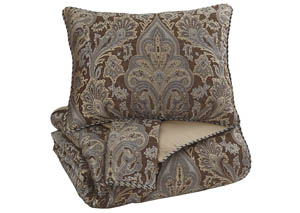 Asali Chocolate/Blue Queen Comforter Set