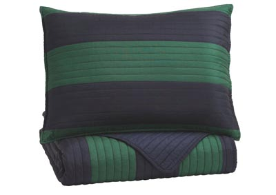 Reggie Blue/Green Twin Coverlet Set