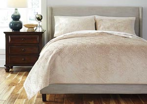 Patterned Golden Beige Queen Comforter Set,Signature Design by Ashley