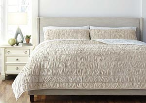 Stitched Beige Queen Comforter Set
