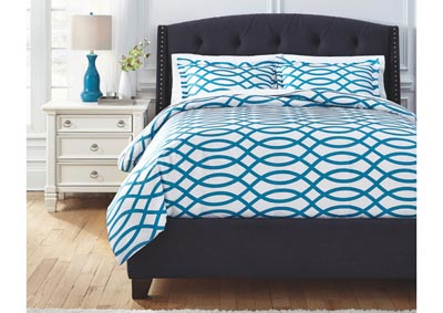 Leander Turquoise Queen Duvet Cover Set