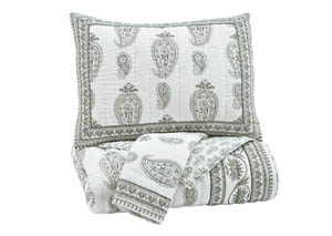 Almeda Gray Queen Coverlet Set