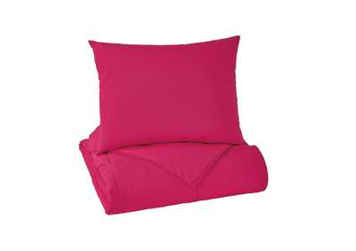 Plainfield Magenta Twin Comforter Set,Signature Design By Ashley