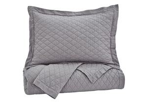 Alecio Gray Queen Quilt Set,Signature Design by Ashley