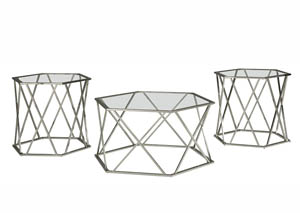 Madanere Chrome Finish Occasional Table Set,Signature Design by Ashley