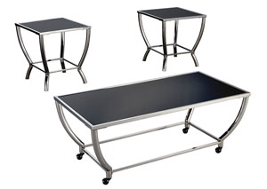 Blasney Black/Chrome Finish Occasional Table Set